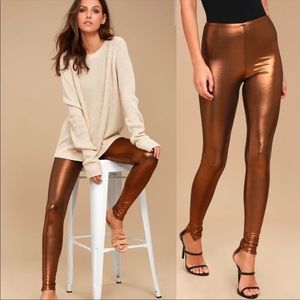 FREE PEOPLE Metallic Copper Leggings size small